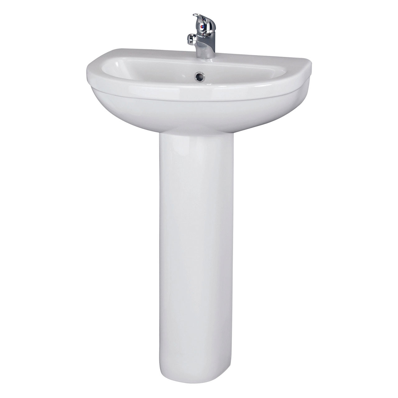 Nuie Ivo 550mm Basin with 1 Tap Hole and Full Pedestal - CIV002