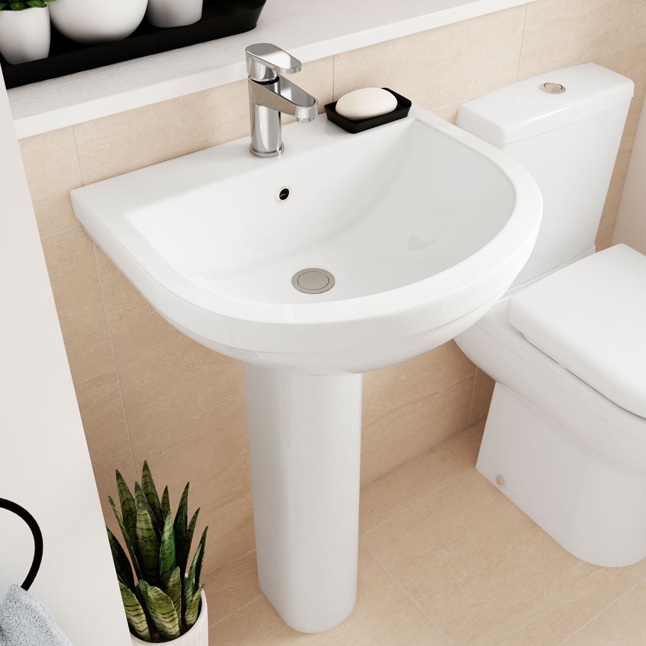 Premier Ivo 550mm Basin with 1 Tap Hole and Full Pedestal - Lifestyle 1 - CIV002