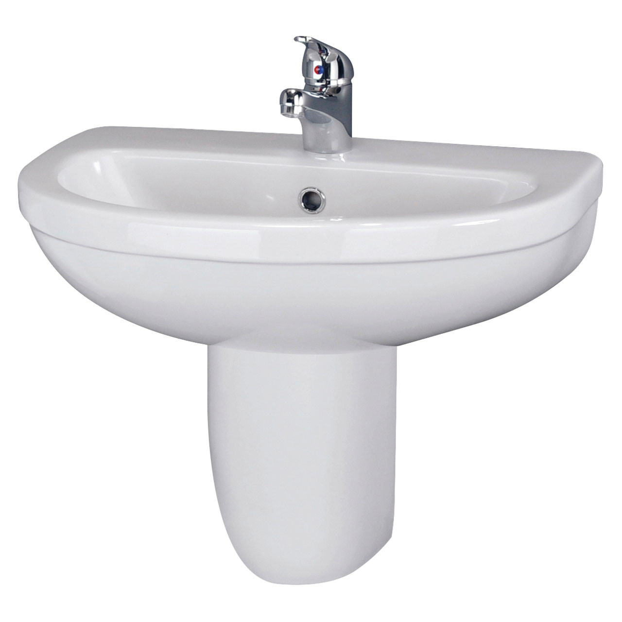 Nuie Ivo 550mm Basin with 1 Tap Hole and Semi Pedestal - CIV004