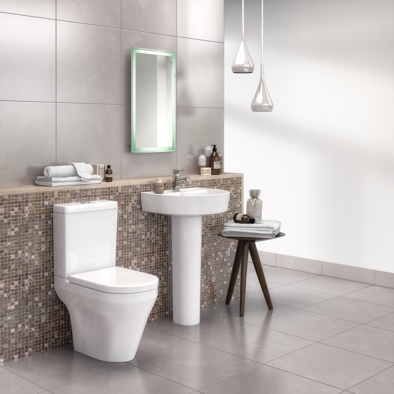 Hudson Reed Luna 420mm Basin with 1 Tap Hole and Full Pedestal - CMA002