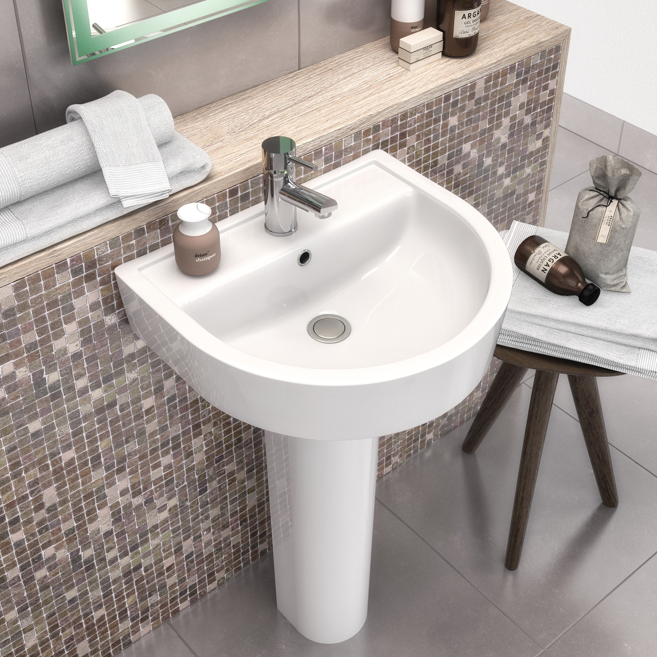 Hudson Reed Luna 520mm Basin with 1 Tap Hole and Semi Pedestal - CMA005