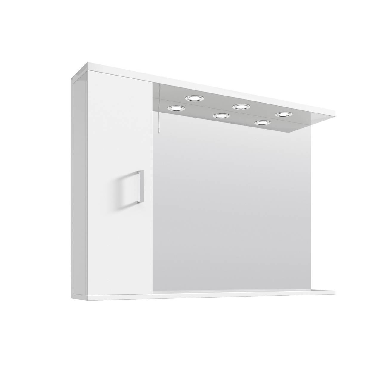 Premier Mayford Gloss White 1050mm Mirror with 3 Lights and Storage - PRC116