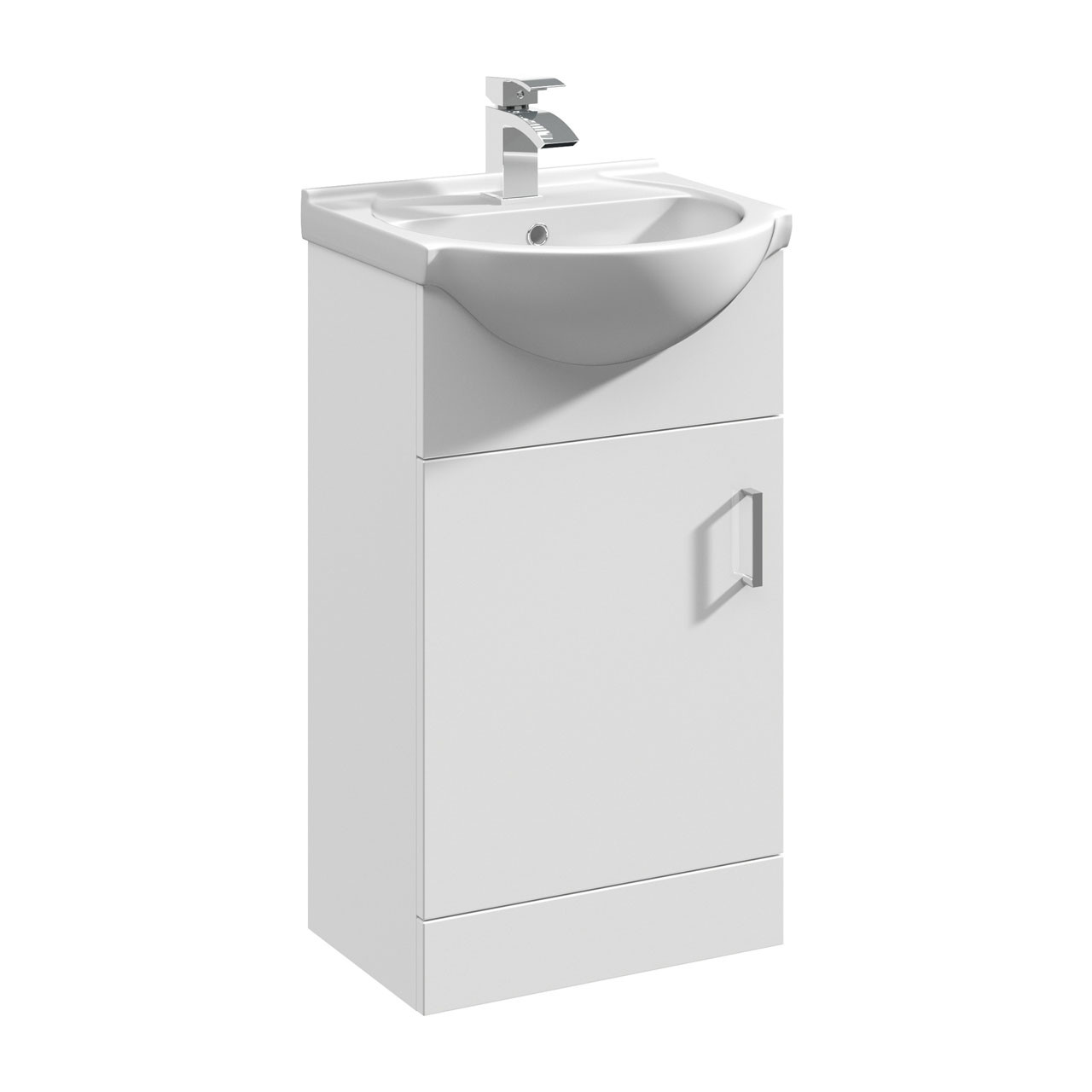 Nuie Mayford Gloss White 450mm Vanity Unit and Curved Basin with 1 Tap Hole - VTY450