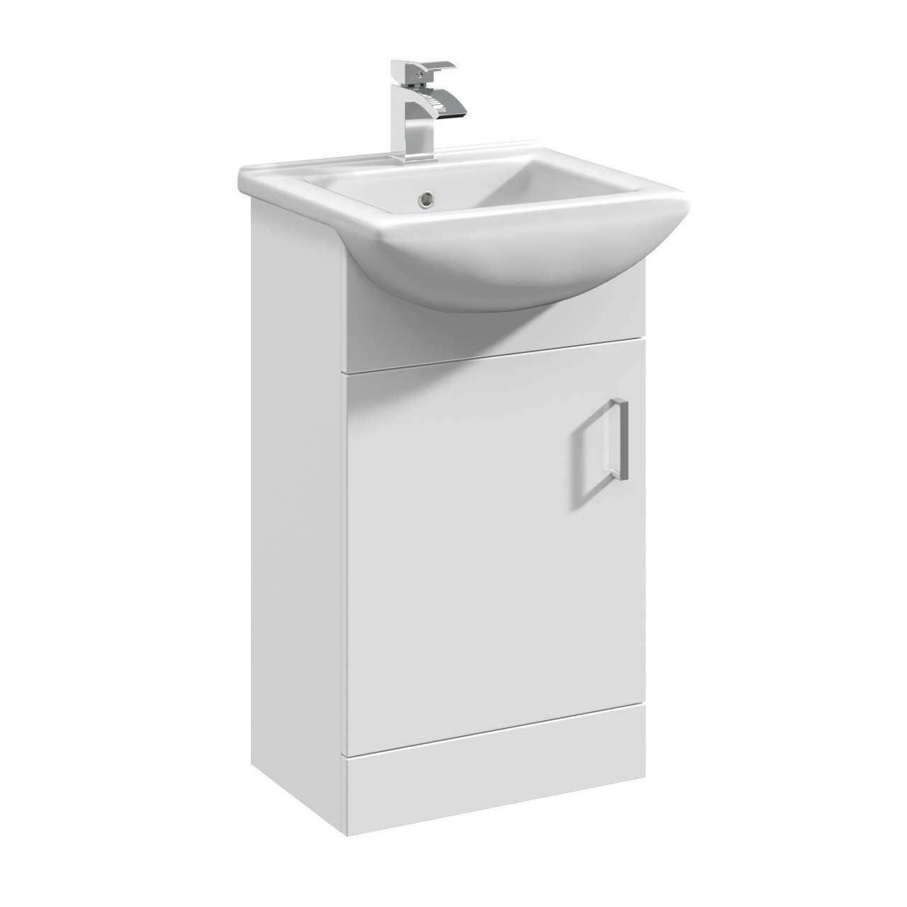 Premier Mayford Gloss White 450mm Vanity Unit and Minimalist Basin with 1 Tap Hole - VTM450