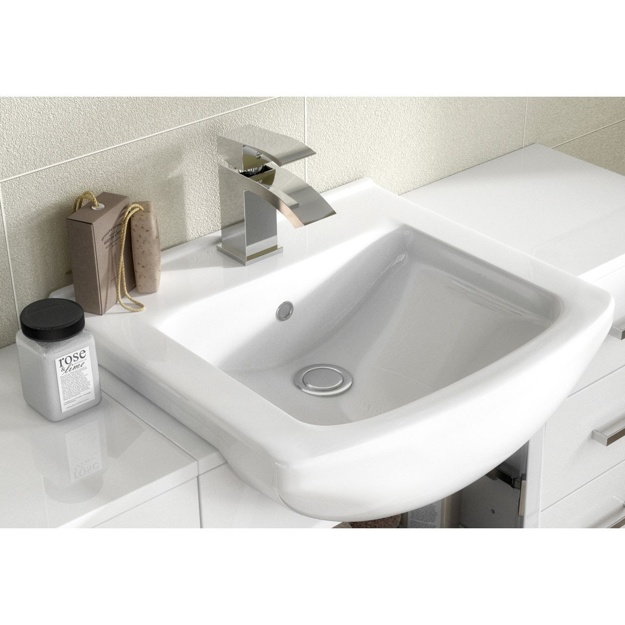 Nuie Mayford Gloss White 450mm Vanity Unit and Minimalist Basin with 1 Tap Hole - VTM450