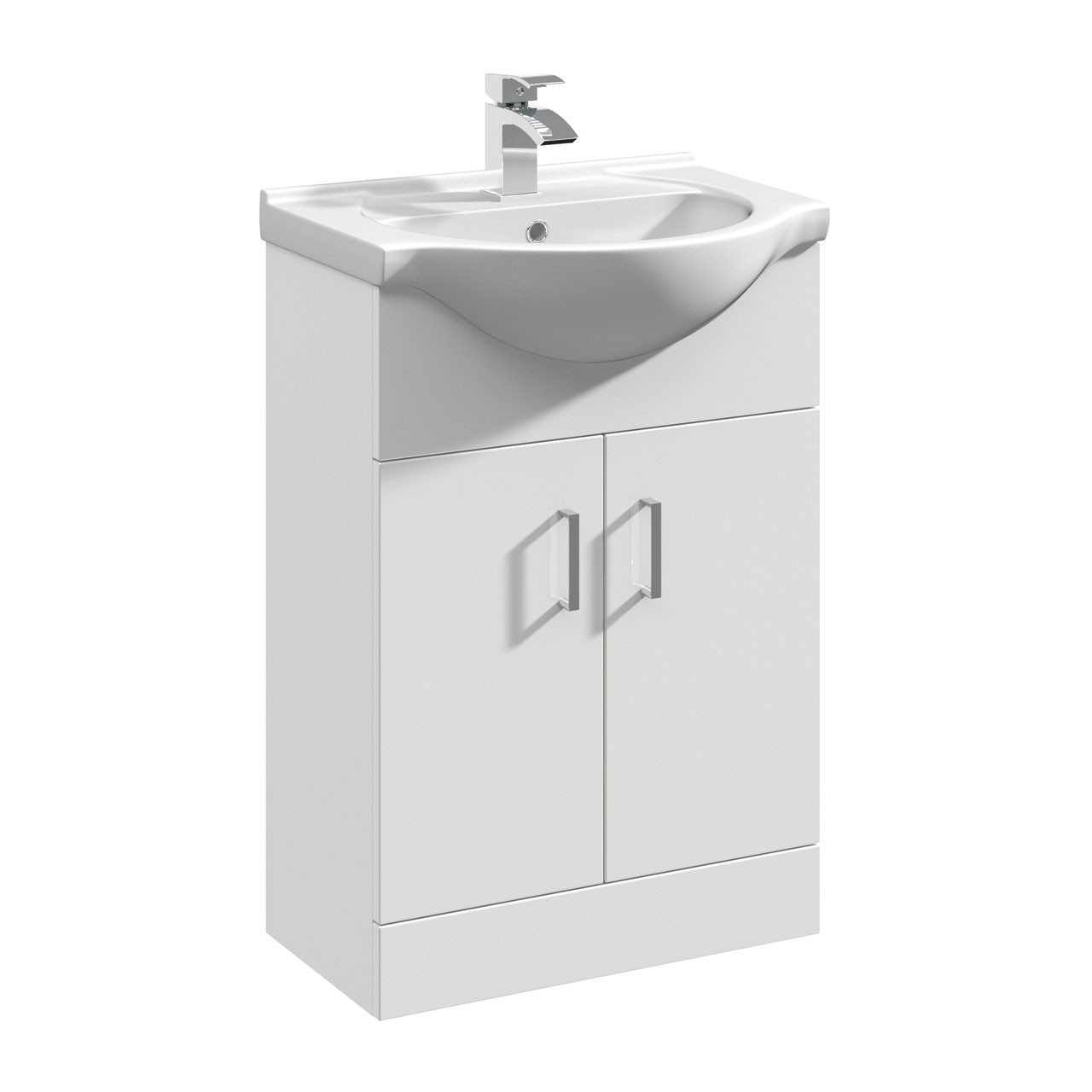 Nuie Mayford Gloss White 550mm Vanity Unit and Curved Basin with 1 Tap Hole - VTY550