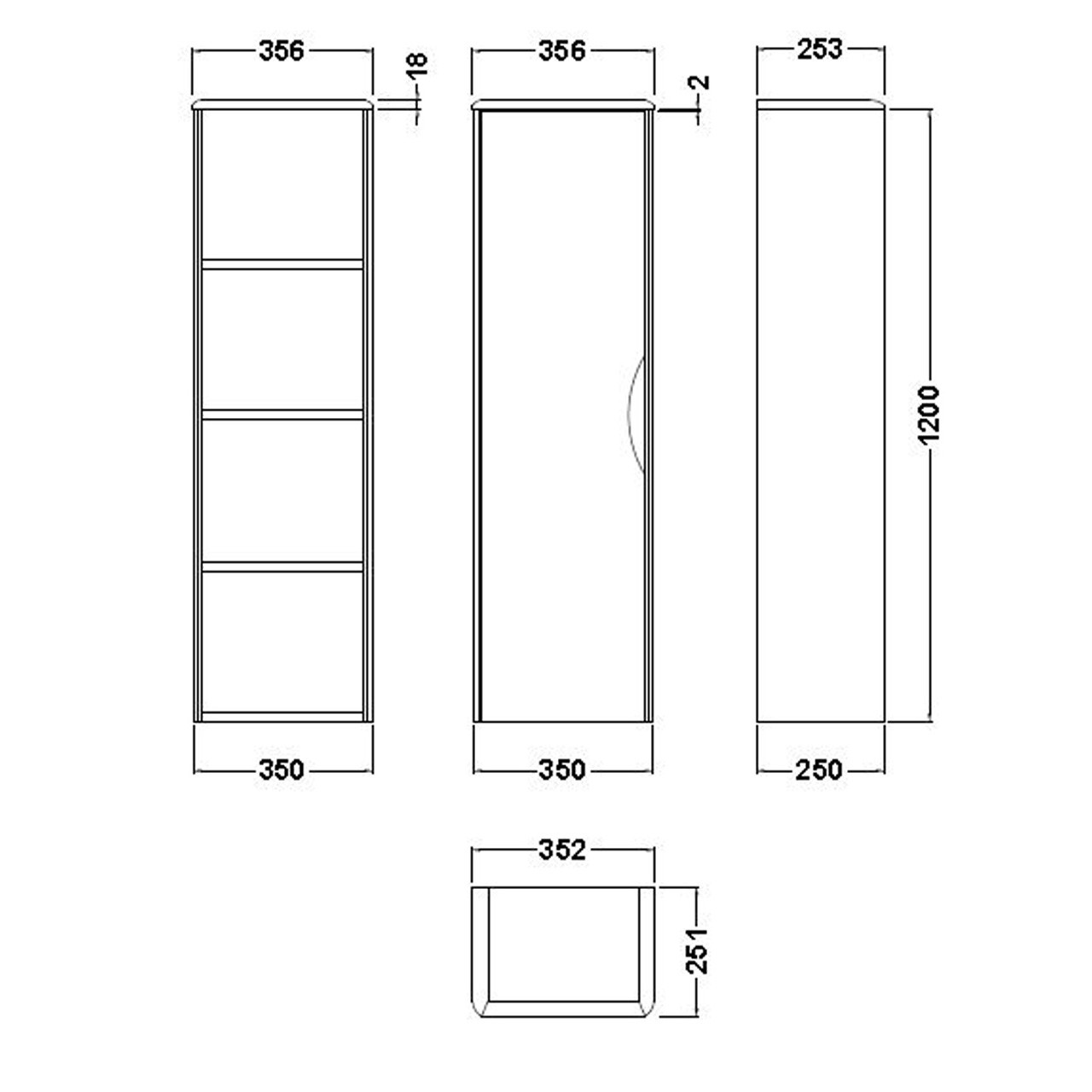 Premier Midnight Grey Eclipse 350mm Wall Hung Tall Cabinet - PMW363