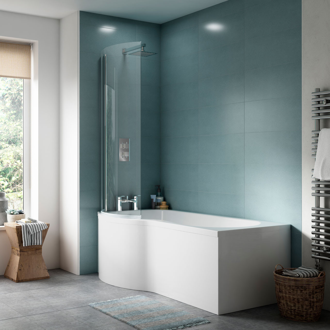 Premier P Shape Left Hand 1500mm Shower Bath with Screen and Panel ...