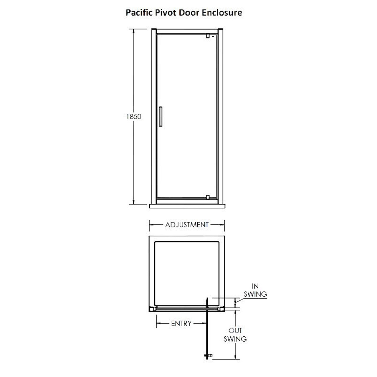 Premier Pacific 800 Pivot Door 740mm x 800mm - AQPD80