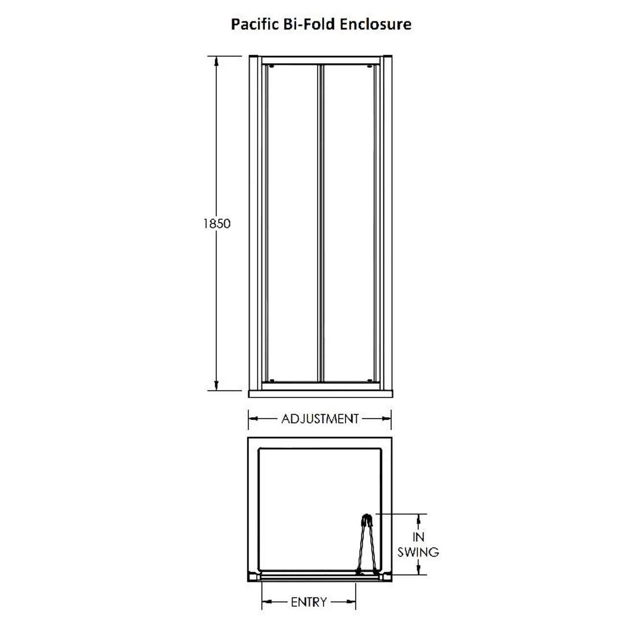 Nuie Pacific 1100mm Bi-Fold Shower Door - AQBD11