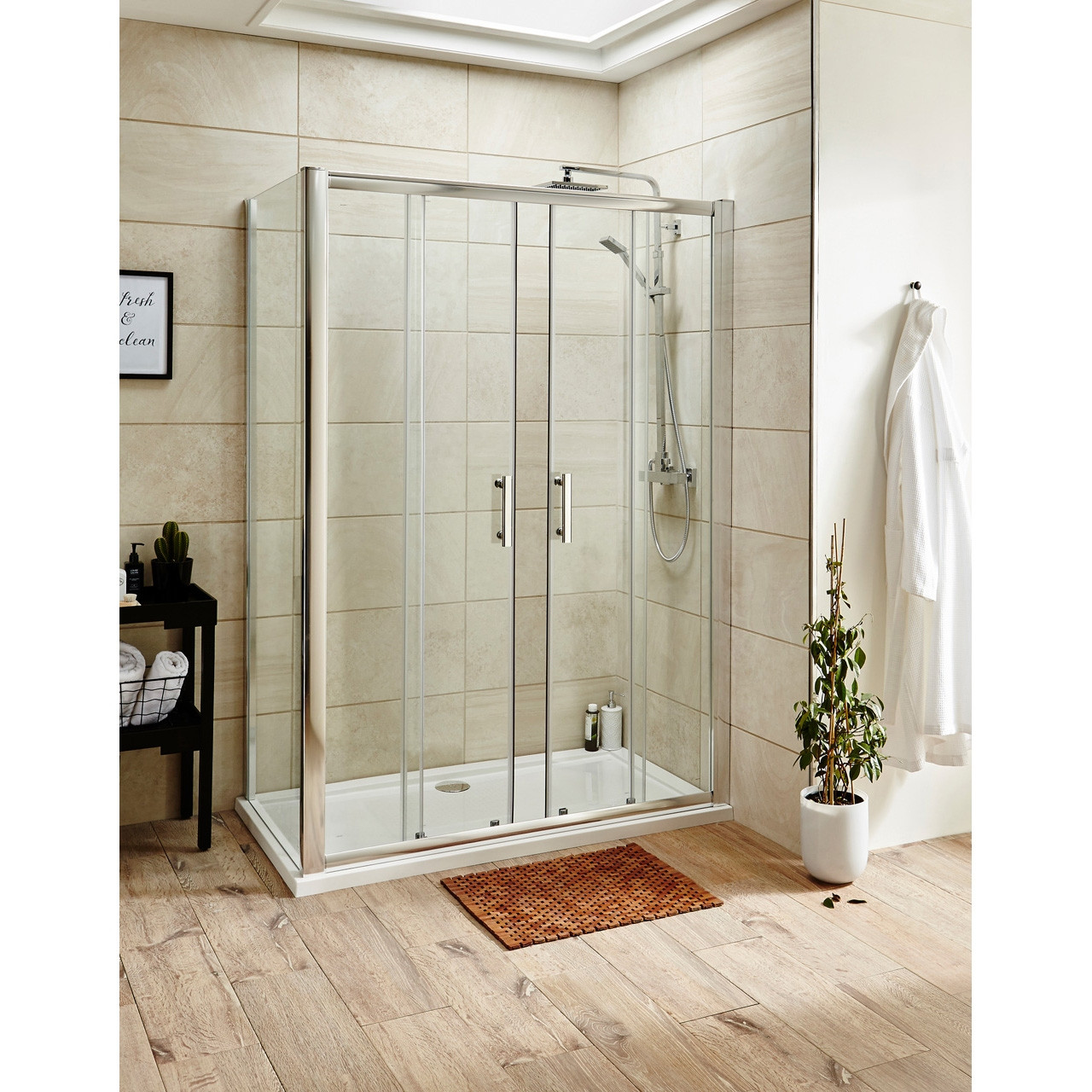 Premier Pacific Double Sliding Shower Door 1500mm - AQSLD15