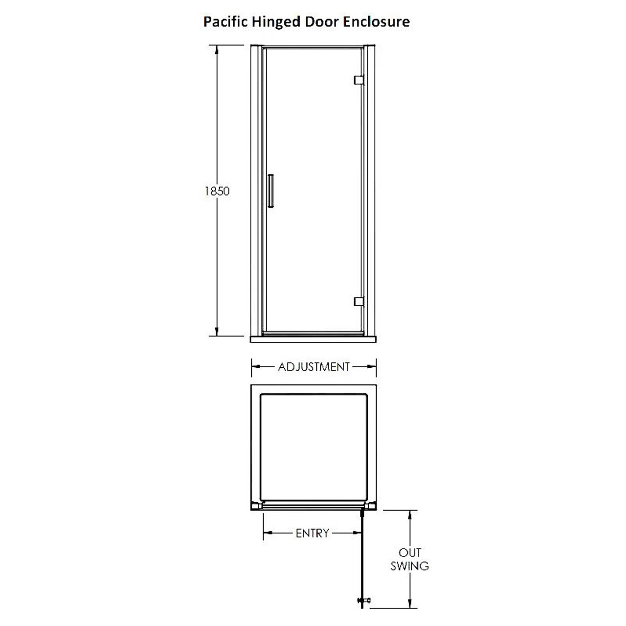 Premier Pacific Hinged Shower Door 800mm - AQHD80