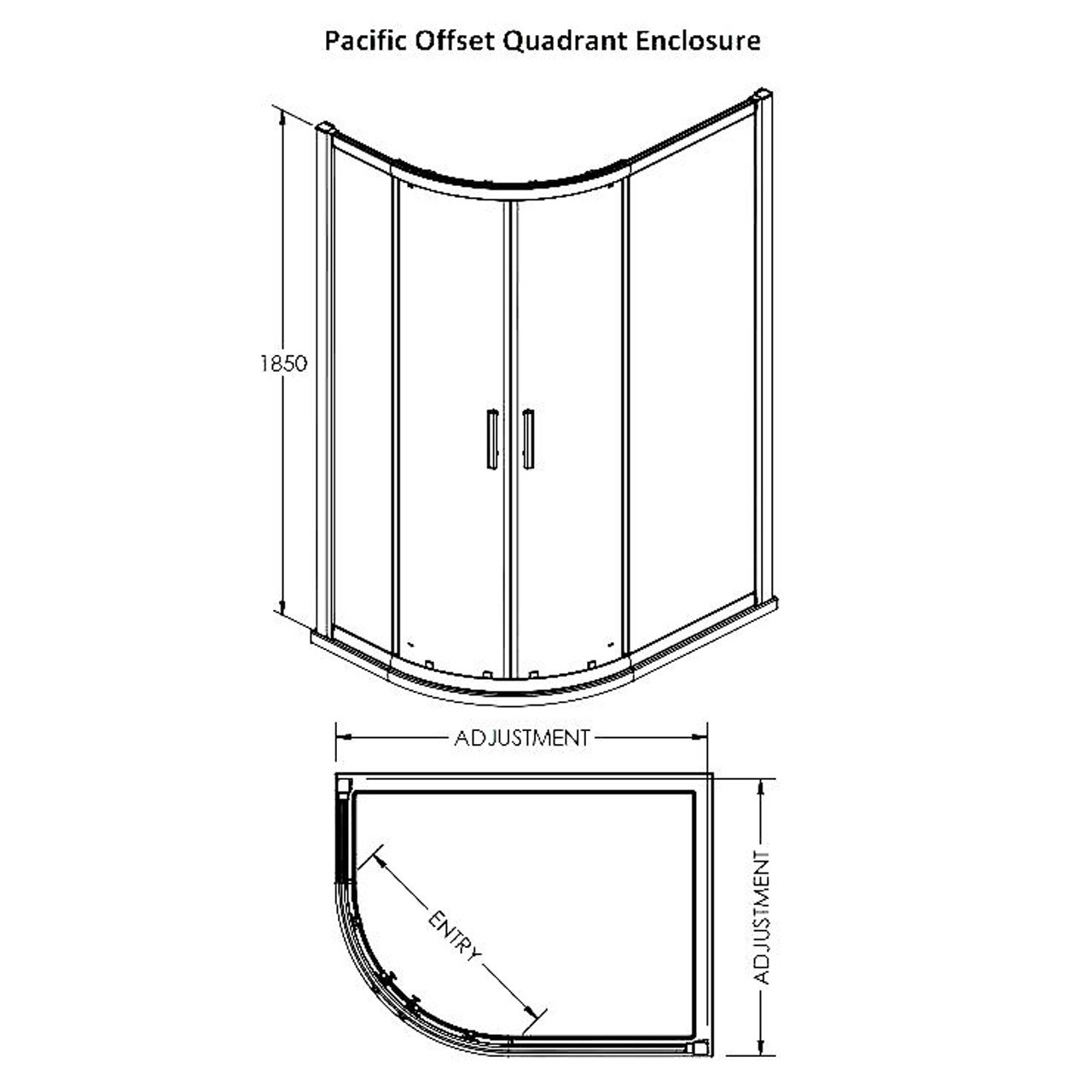 Premier Pacific Offset Quad Enclosure 900mm x 760mm - AQU769