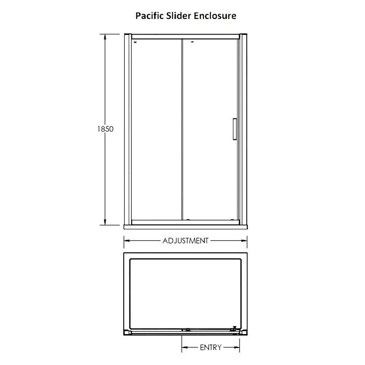 Premier Pacific Sliding Shower Door 1700mm - AQSL17
