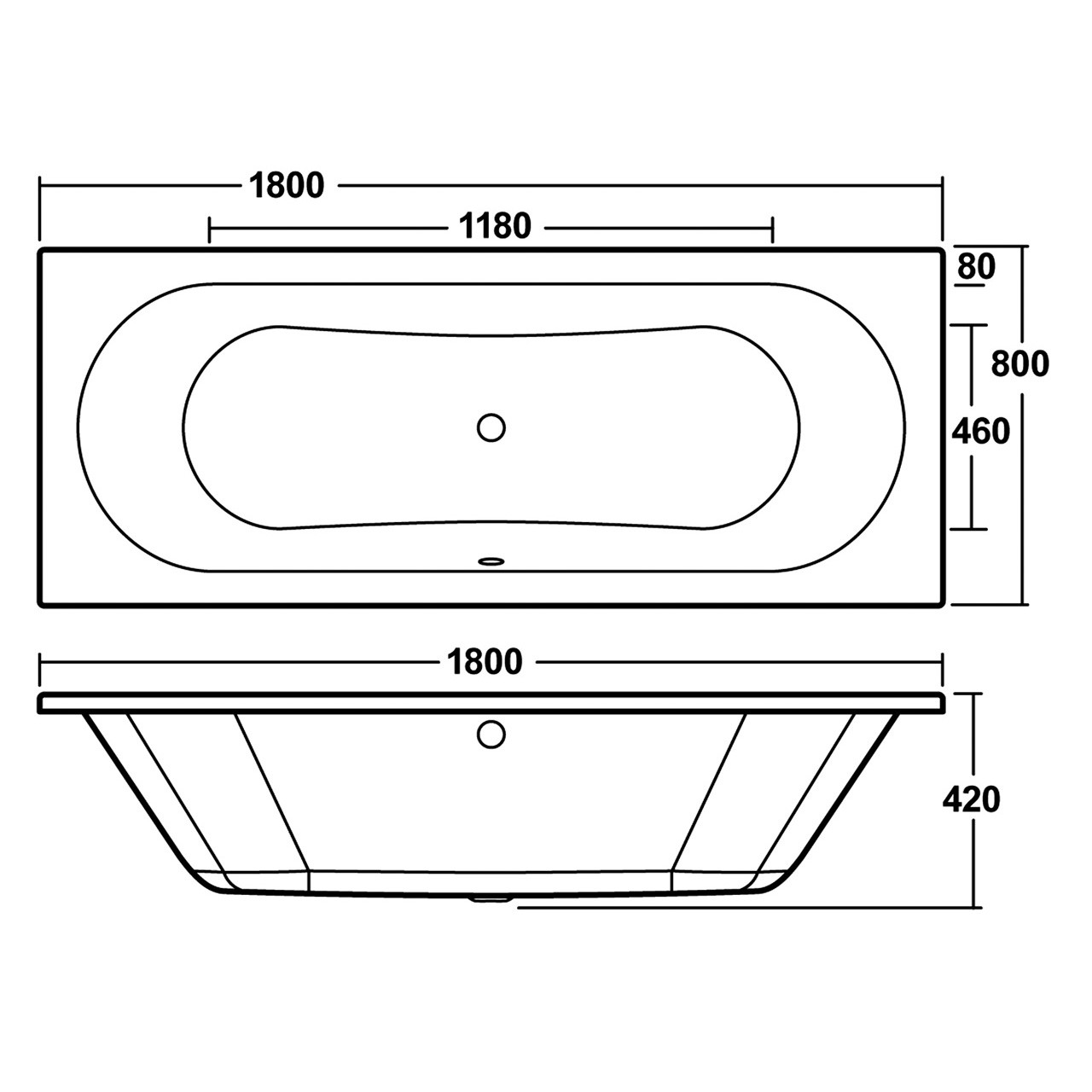 Premier Round Double Ended Bath 1800mm x 800mm - BDE011