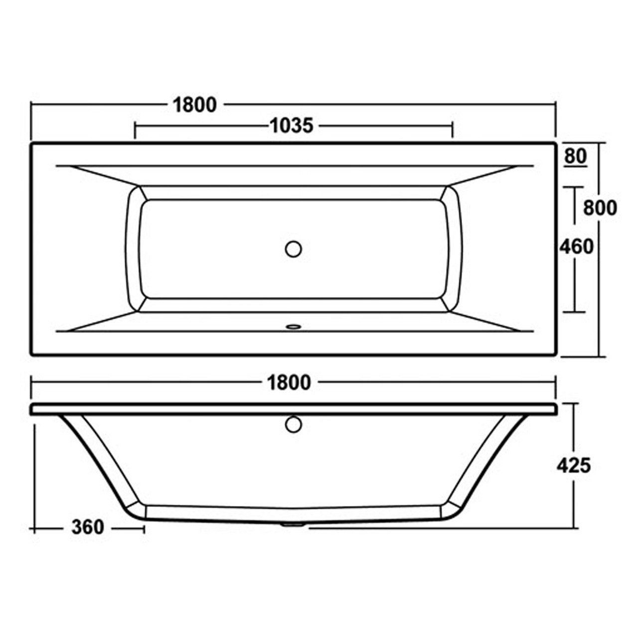 Premier Square Double Ended Bath and Leg Set 1800mm x 800mm - BDE008