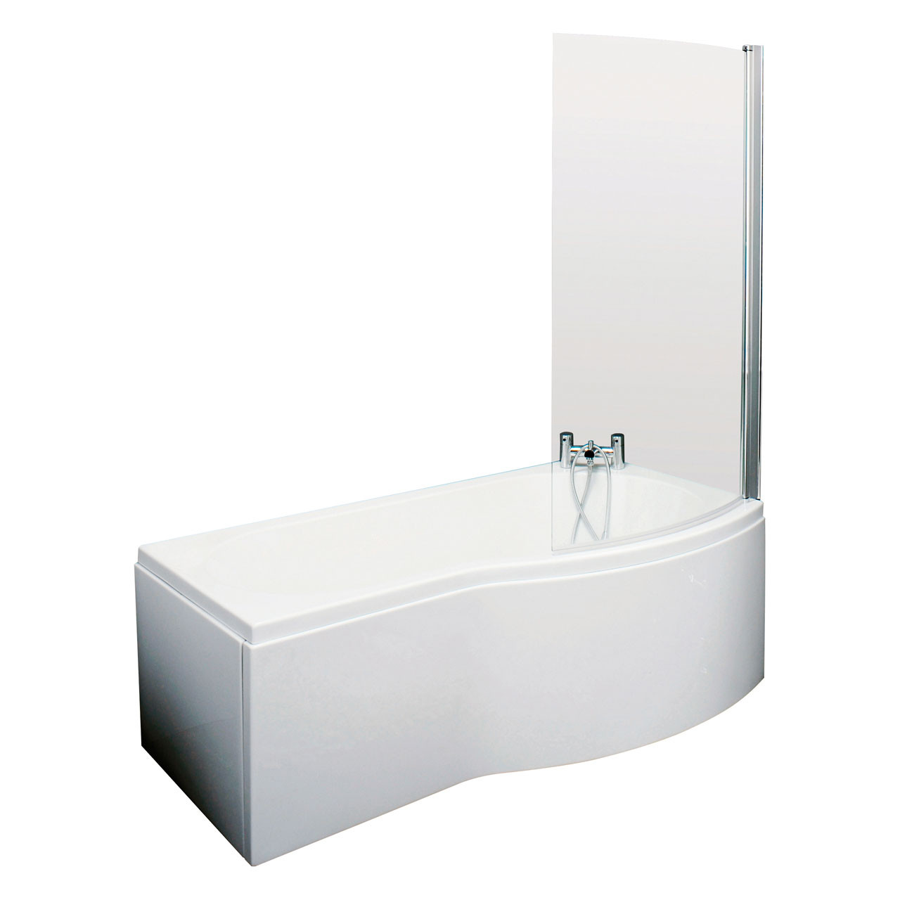 Premier Square Right Hand 1600mm Shower Bath - BMBS1685R