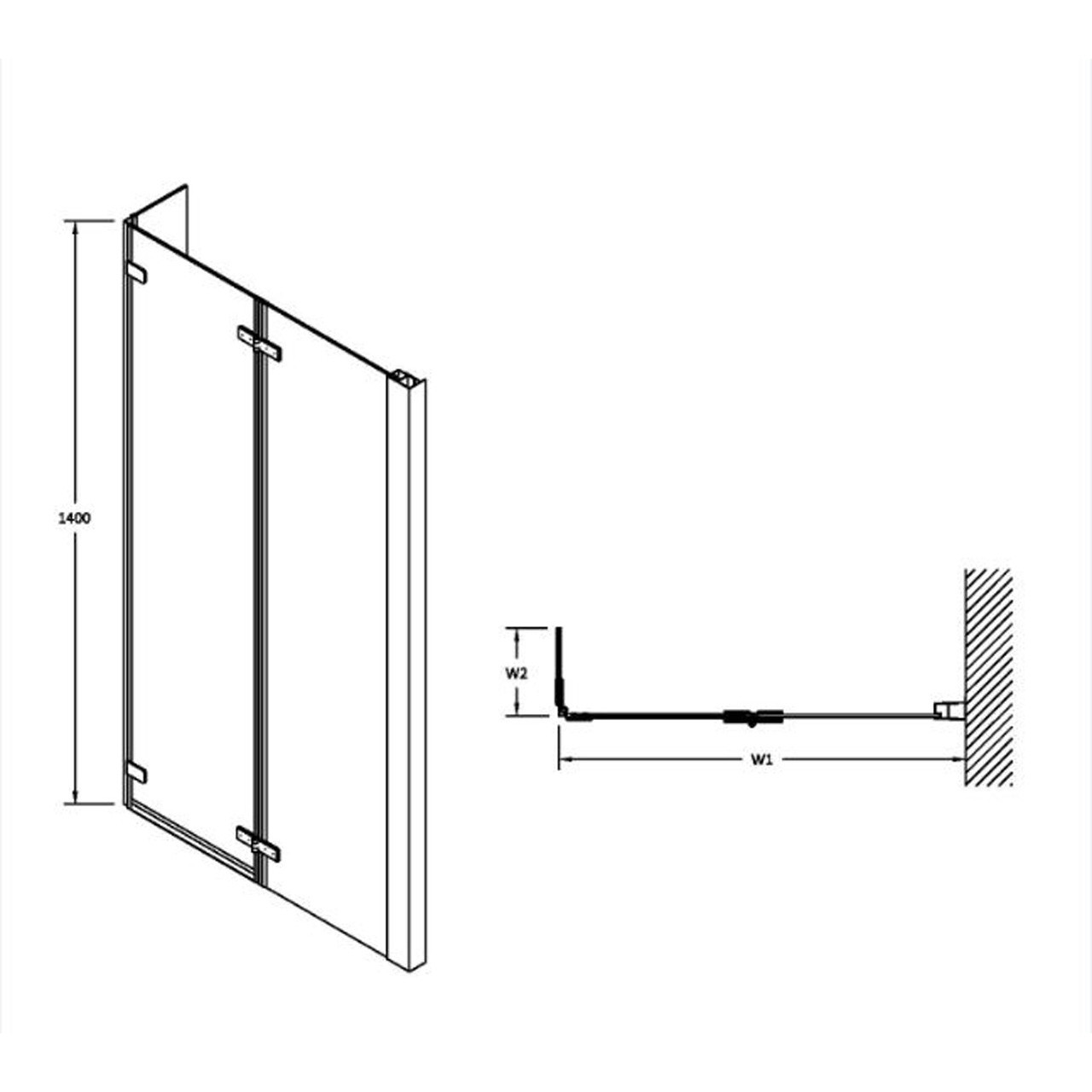 Premier Square Shower Centre Hinged Bath Screen 6 with Toughened Safety Glass - NSBS3