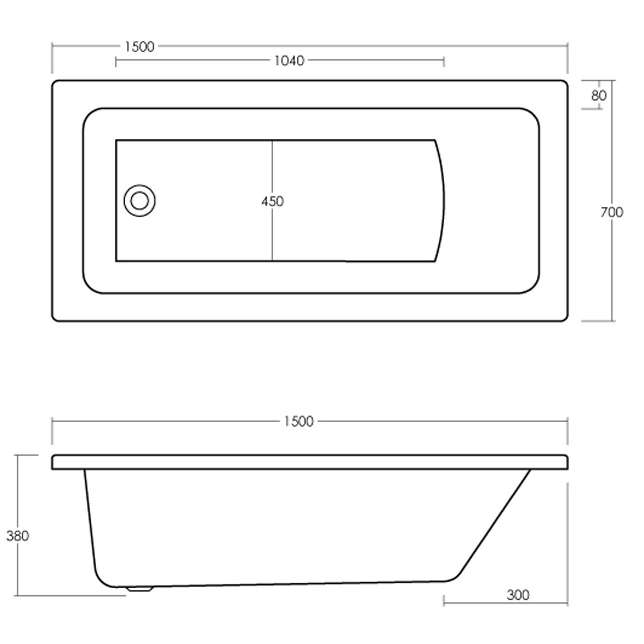 Nuie Linton 1500mm x 700mm Square Single Ended Bath - NBA405