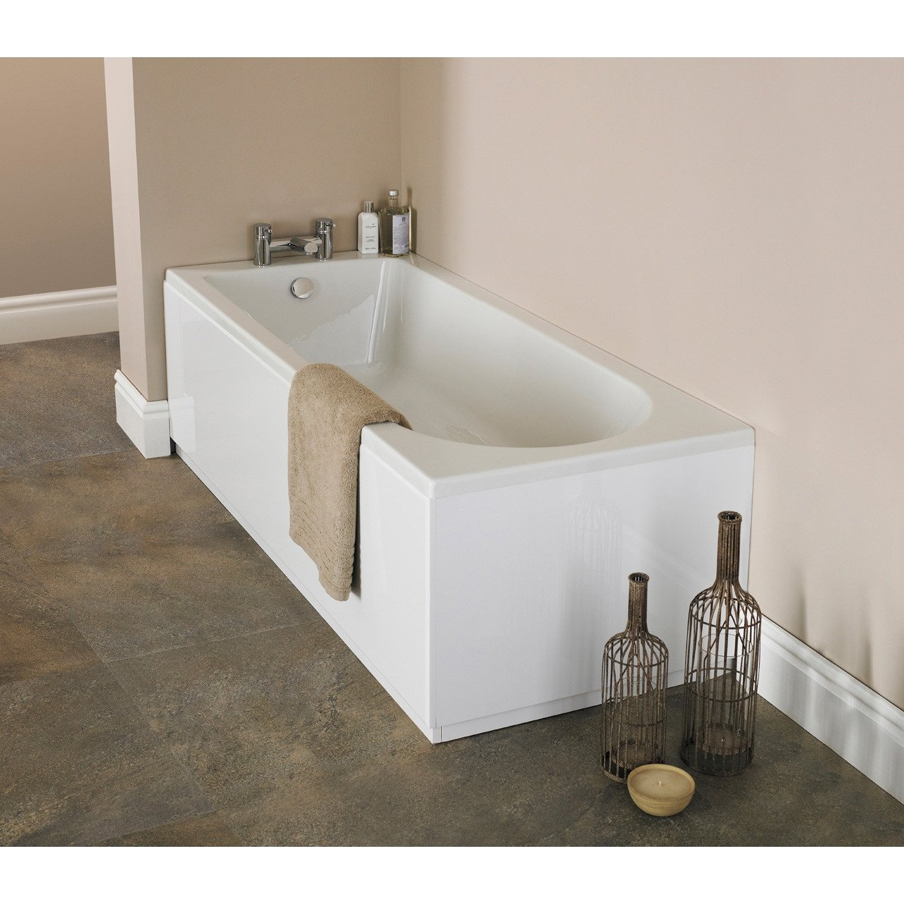 Nuie Barmby 1600mm x 700mm Round Single Ended Bath - NBA607