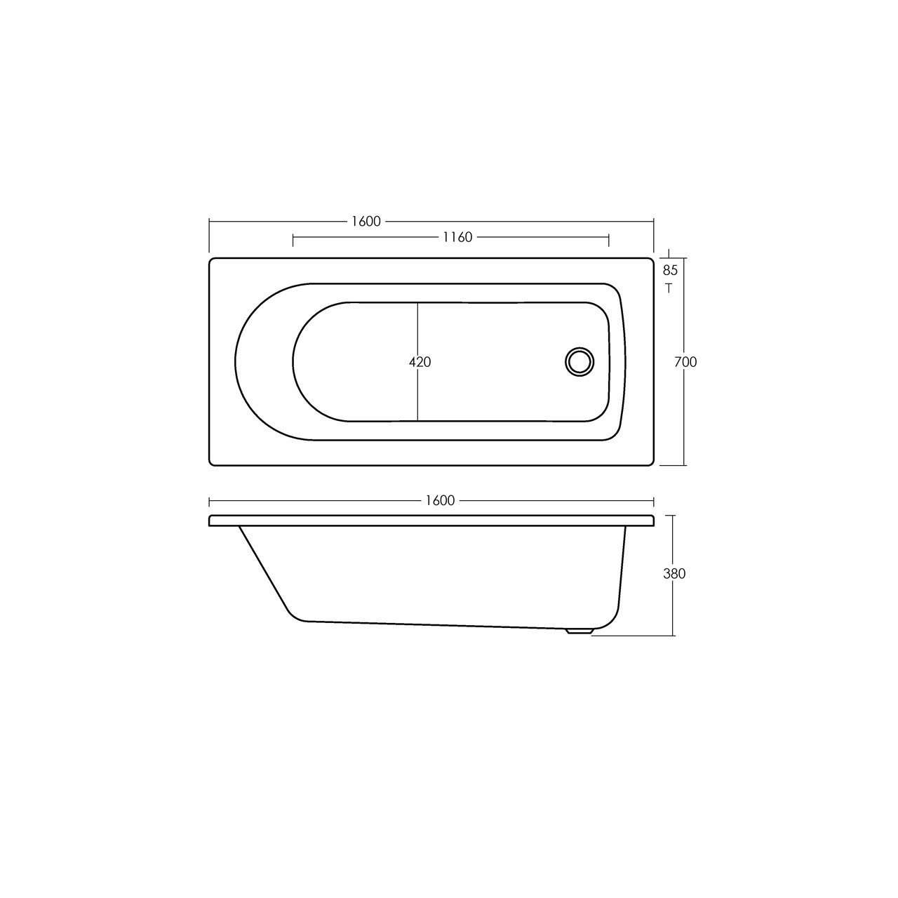 Premier Standard Single Ended Bath 1600mm x 700mm - NBA607
