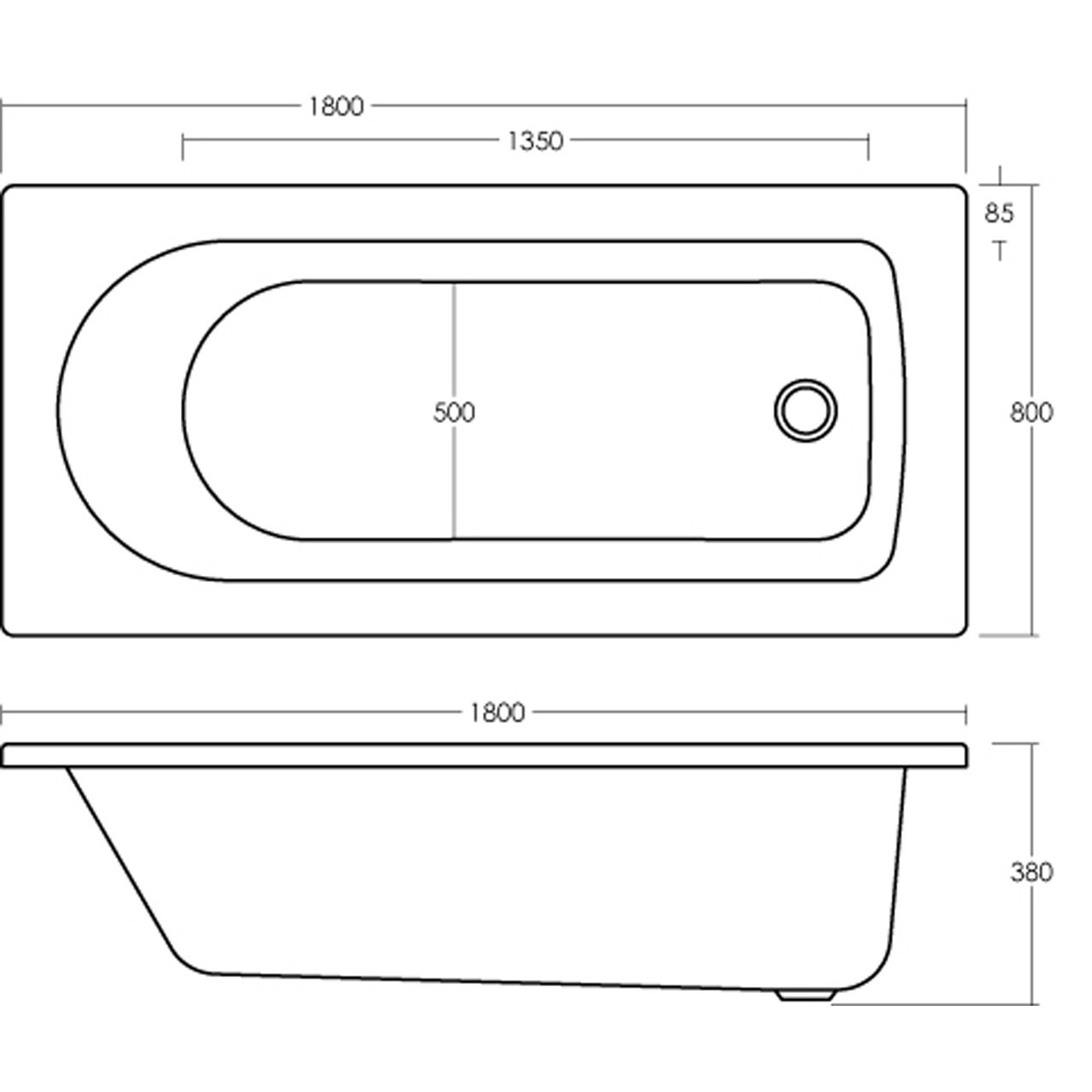Nuie Barmby 1800mm x 800mm Round Single Ended Bath - NBA614