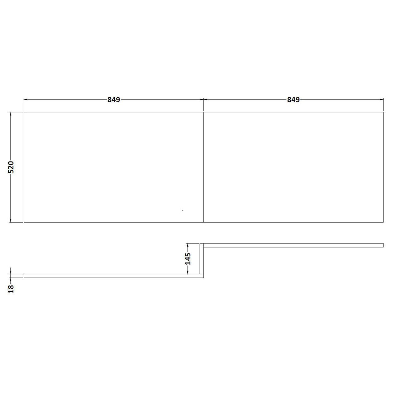 Nuie Stone Grey Square Shower 1700mm Front Bath Panel - MPC435