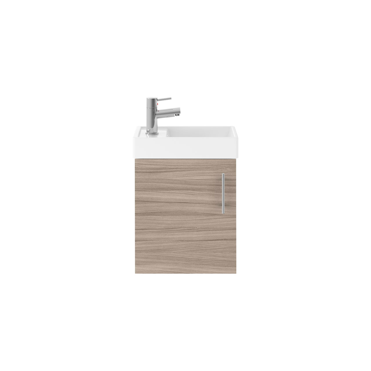 Premier Valut Driftwood 400mm Wall Hung Single Door Vanity Unit and Compact Basin - MIN007