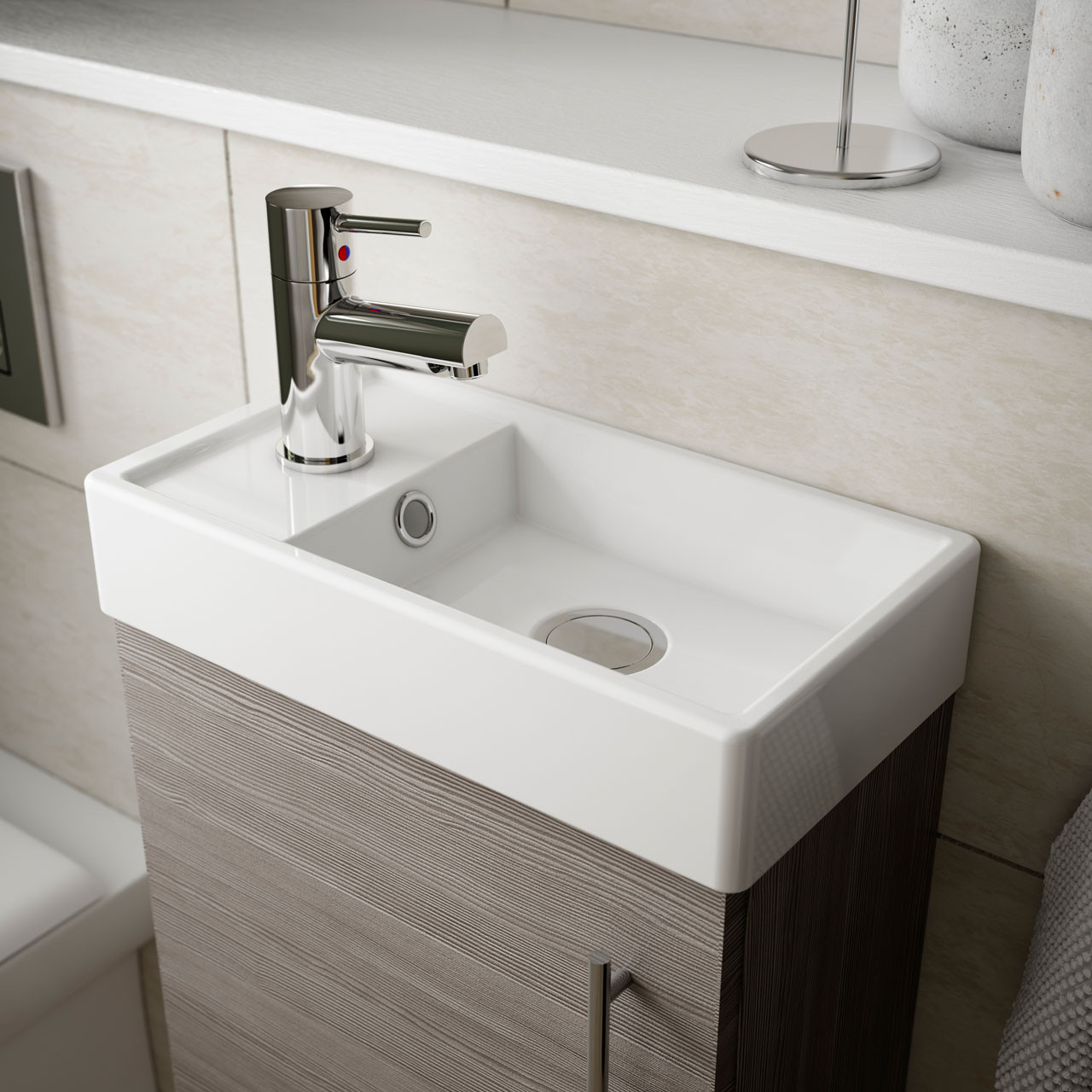 Nuie Valut Natural Oak 400mm Wall Hung Single Door Vanity Unit and Compact Basin - MIN011