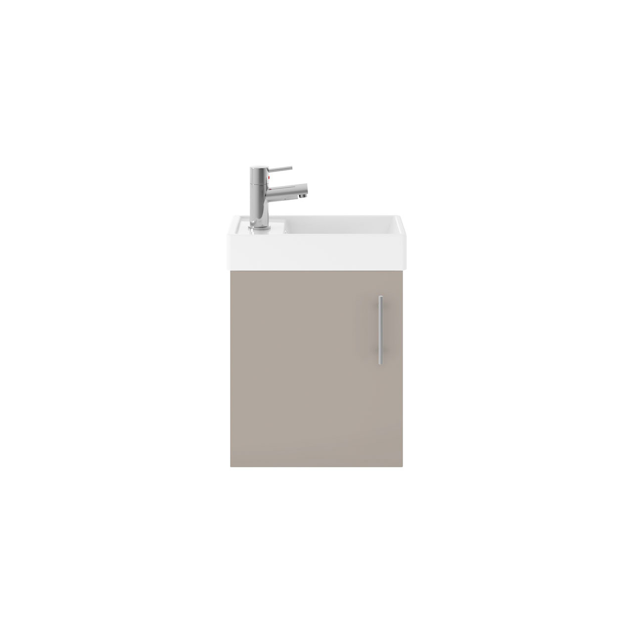 Premier Valut Stone Grey 400mm Wall Hung Single Door Vanity Unit and Compact Basin - MIN012