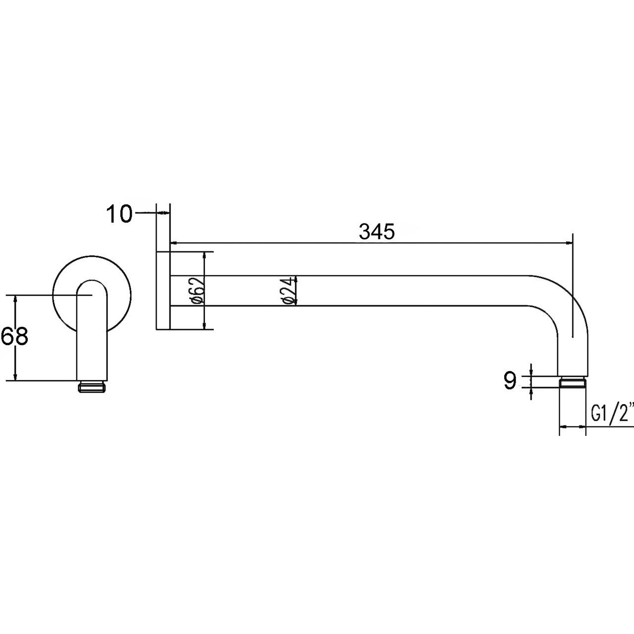 Premier Wall Hung Shower Arm - ARM01