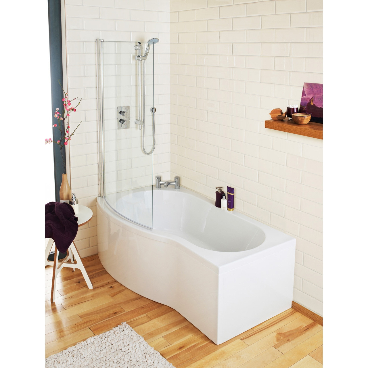 Premier White B Shape Left Hand 1500mm Shower Bath Package - PBS003