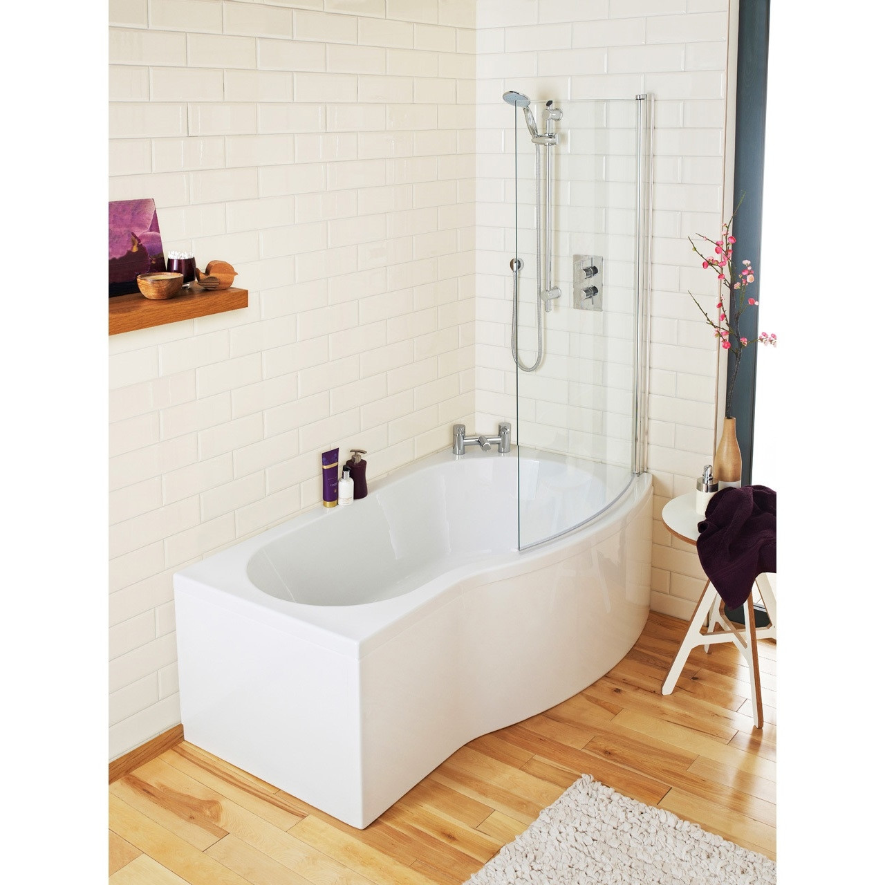 Premier White B Shape Right Hand 1700mm Shower Bath Package - PBS006