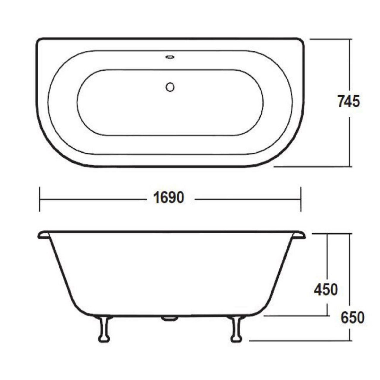 Premier White Back to Wall 1700 Freestanding Bath with Deacon Legs - RE1701M1