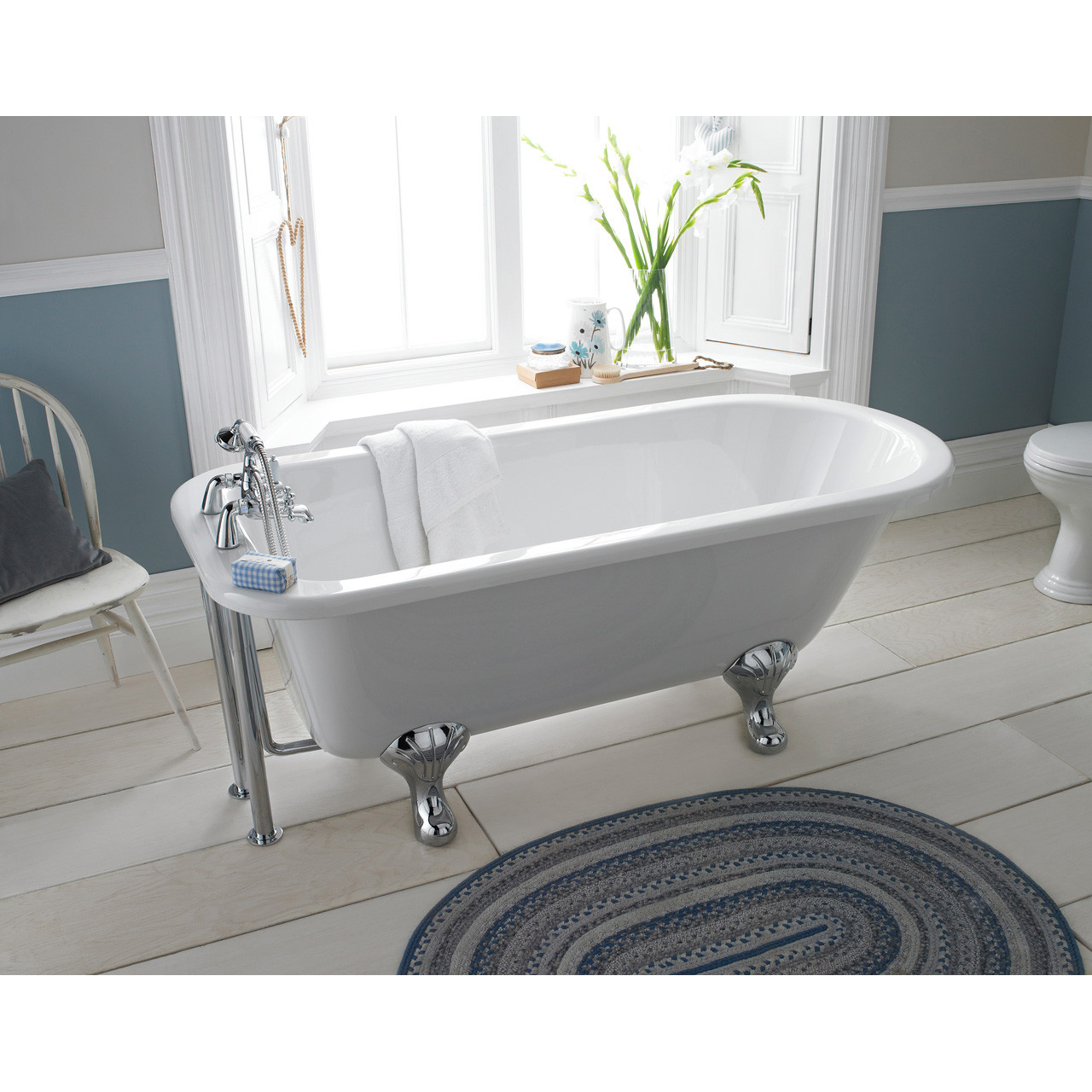 Nuie Barnsbury 1700mm Single Ended Freestanding Bath with Deacon Legs - RL1707M1