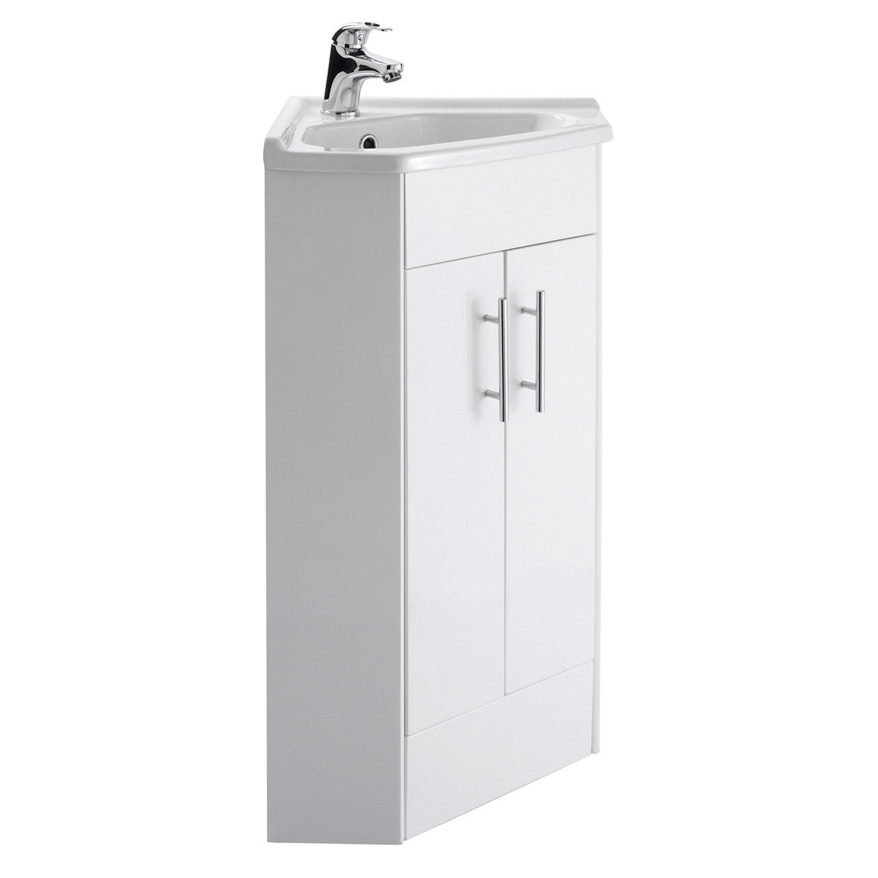 Premier White Gloss 555mm 2 Door Corner Vanity Unit and Basin - NVC180A