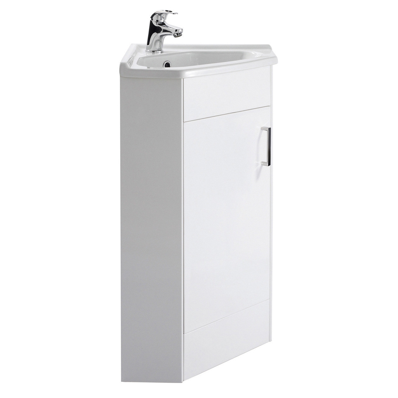 Premier White Gloss 555mm 1 Door Corner Vanity Unit and Basin - CU001