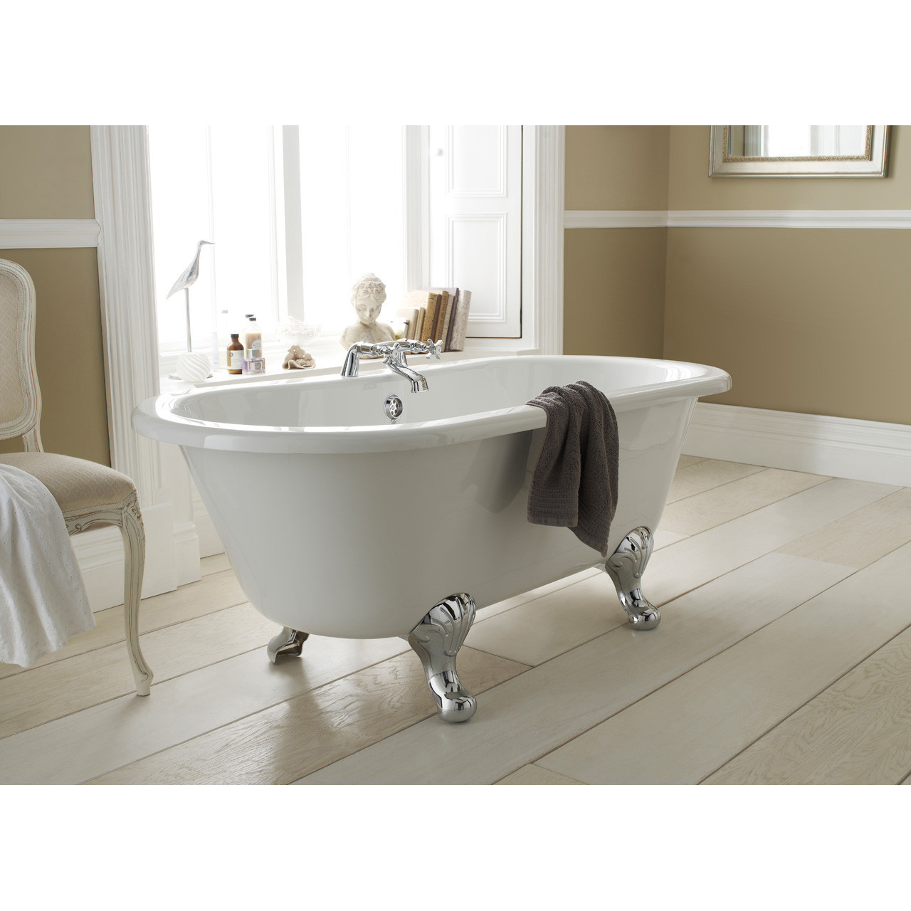 Nuie Kingsbury 1500mm Double Ended Freestanding Bath with Deacon Legs - RL1501M1