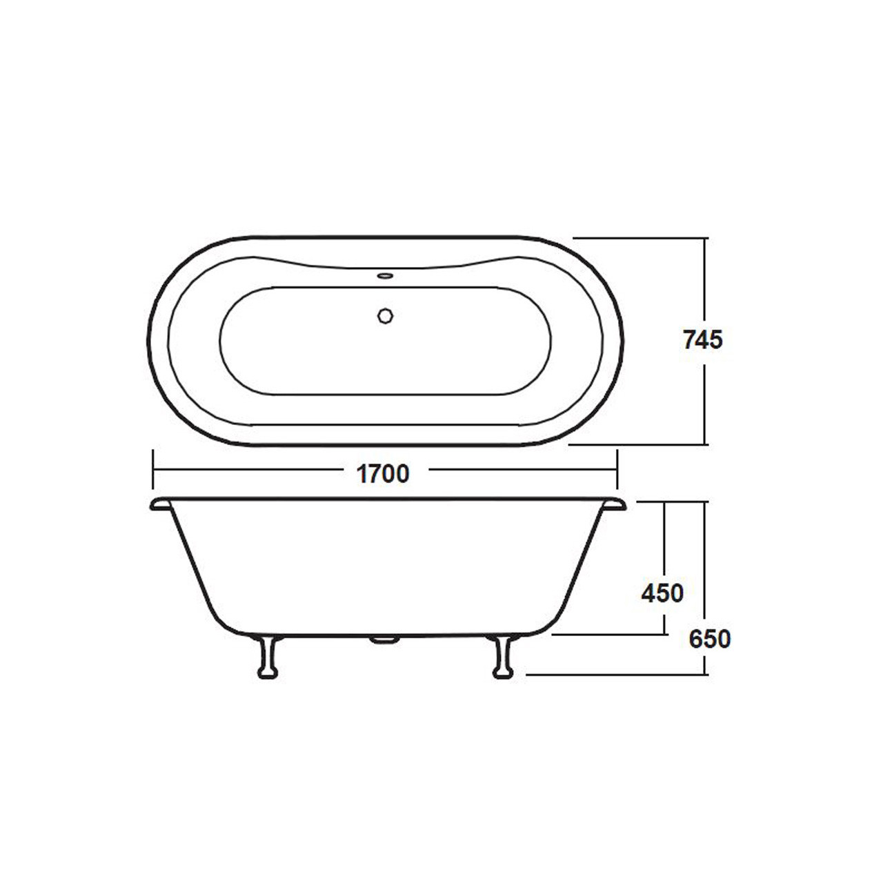 Premier White Grosvenor 1700 Double Ended Freestanding Bath with Pride Legs - RL1705C2