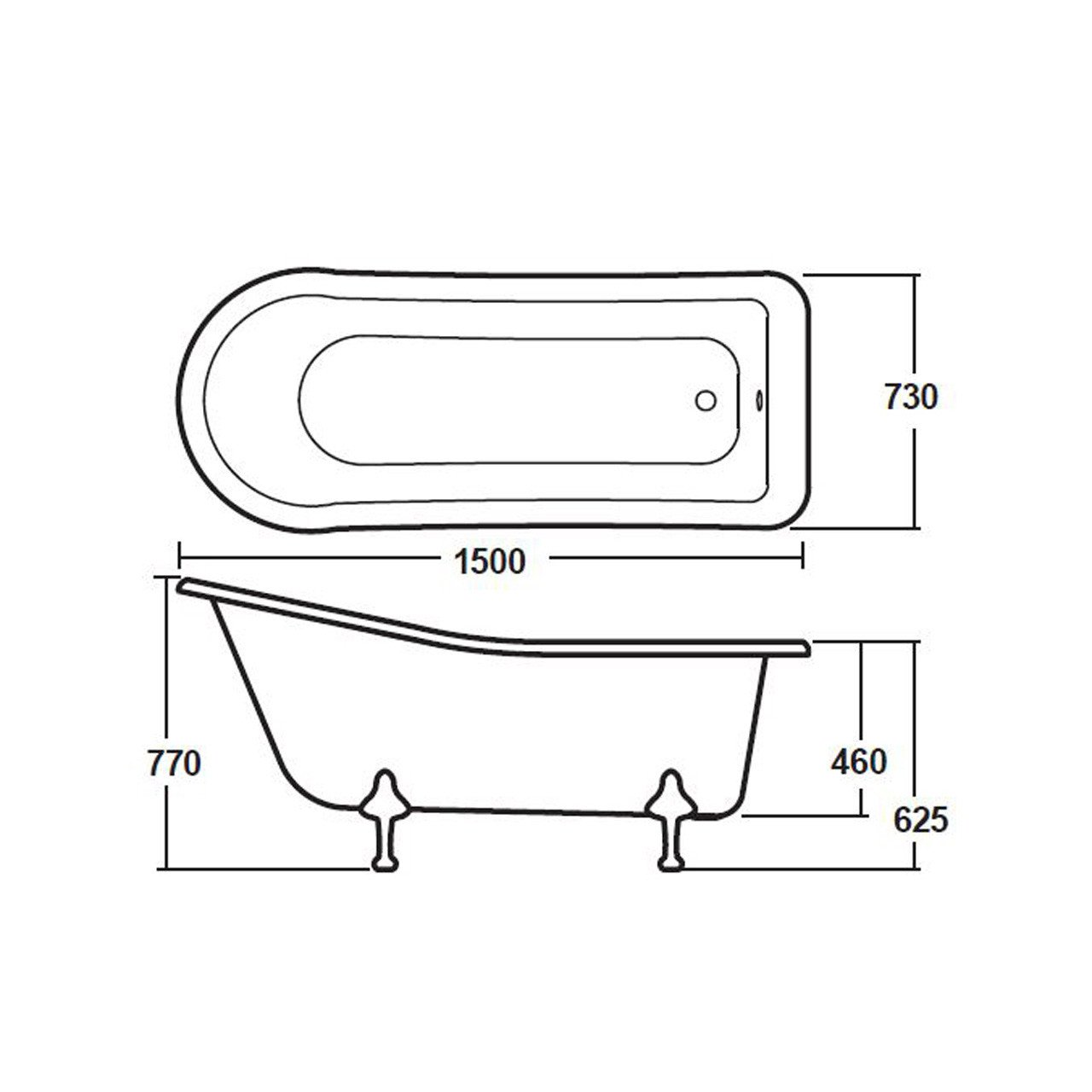 Nuie Brockley 1500mm Single Ended Freestanding Bath with Deacon Legs - RL1490M1