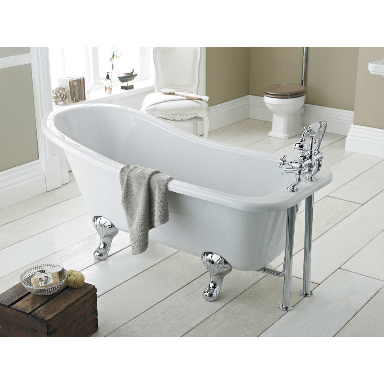 Nuie Brockley 1700mm Single Ended Freestanding Bath with Deacon Legs - RL1690M1
