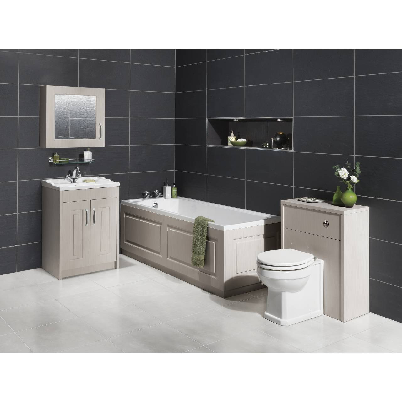 nuie york stone grey 1800mm front bath panel with plinth