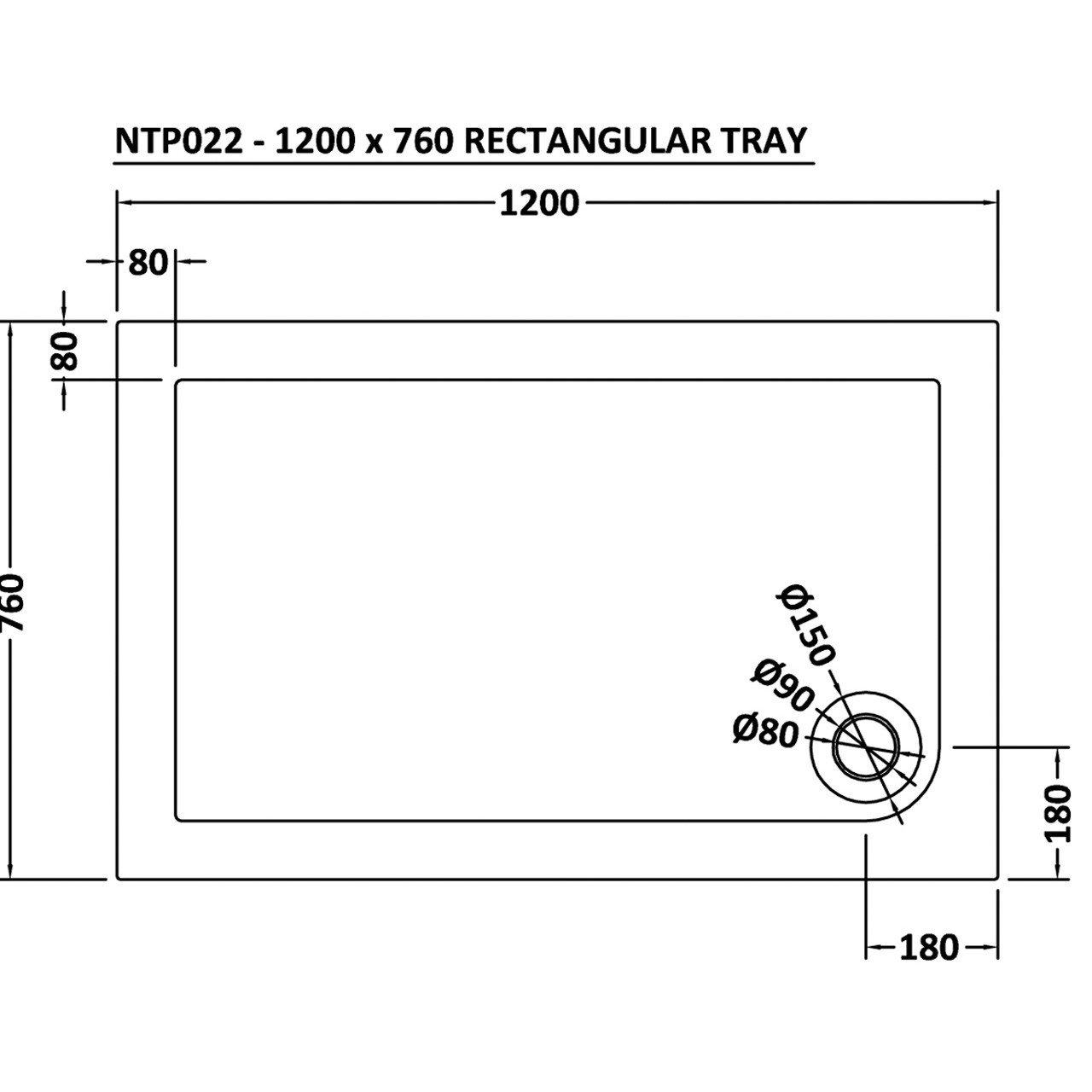 Premier Pearlstone 1200mm x 760mm x 40mm Rectangular Shower Tray with Corner Waste - NTP022
