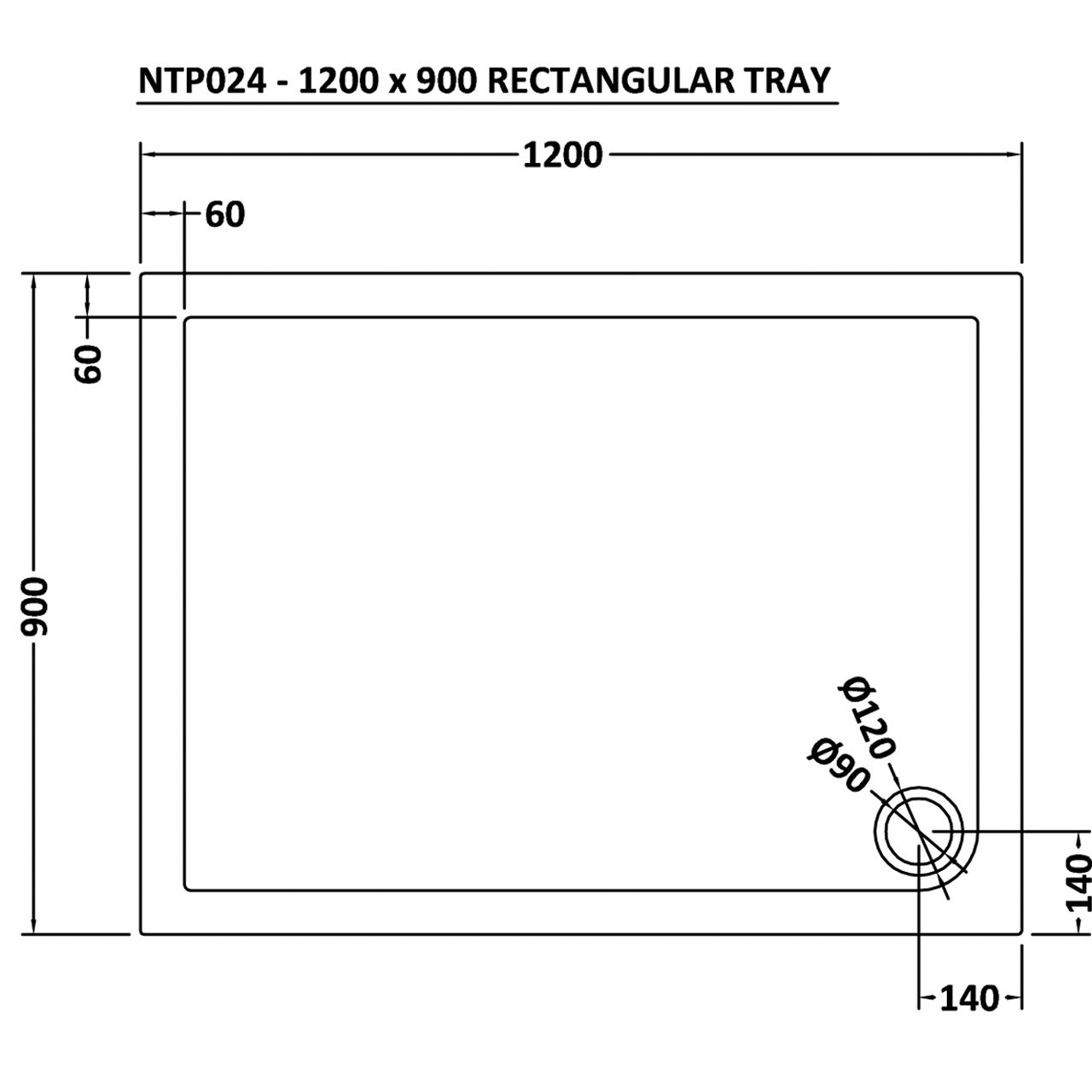 Premier Pearlstone 1200mm x 900mm x 40mm Rectangular Shower Tray with Corner Waste - NTP024