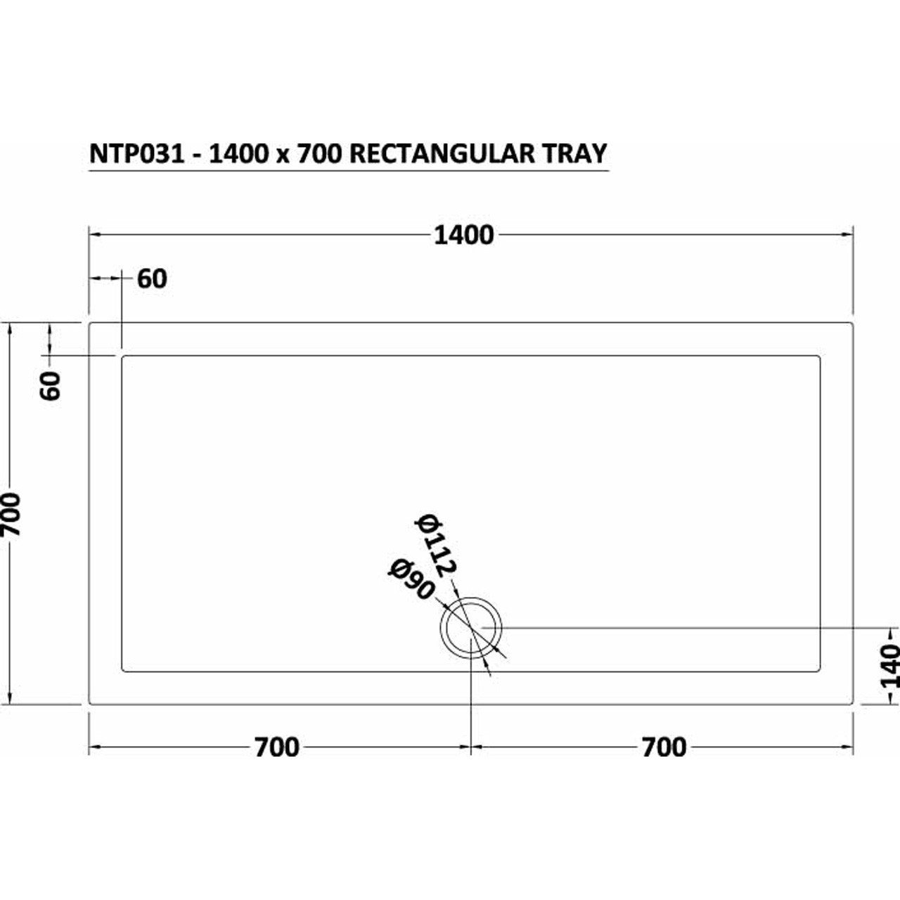 Nuie Pearlstone 1400mm x 700mm Rectangular Shower Tray with Centre Edge Waste - NTP031
