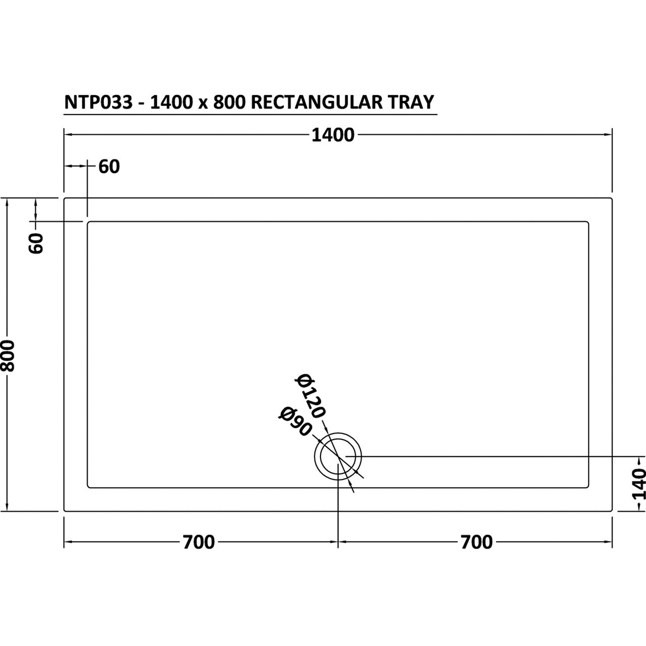 Premier Pearlstone 1400mm x 800mm x 40mm Rectangular Shower Tray with Centre Waste - NTP033