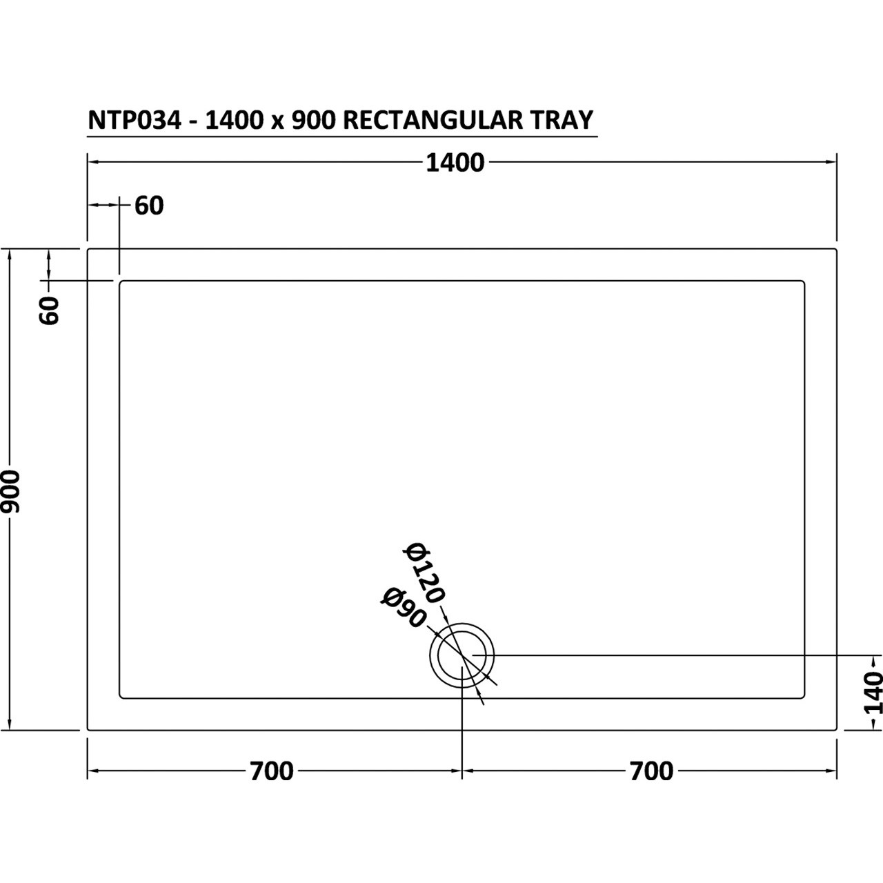Nuie Pearlstone 1400mm x 900mm Rectangular Shower Tray with Centre Edge Waste - NTP034