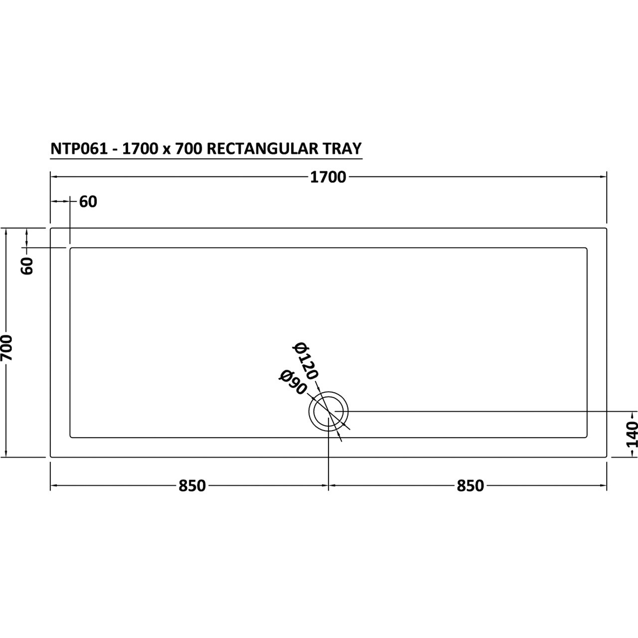Nuie Pearlstone 1700mm x 700mm Rectangular Shower Tray with Centre Edge Waste - NTP061