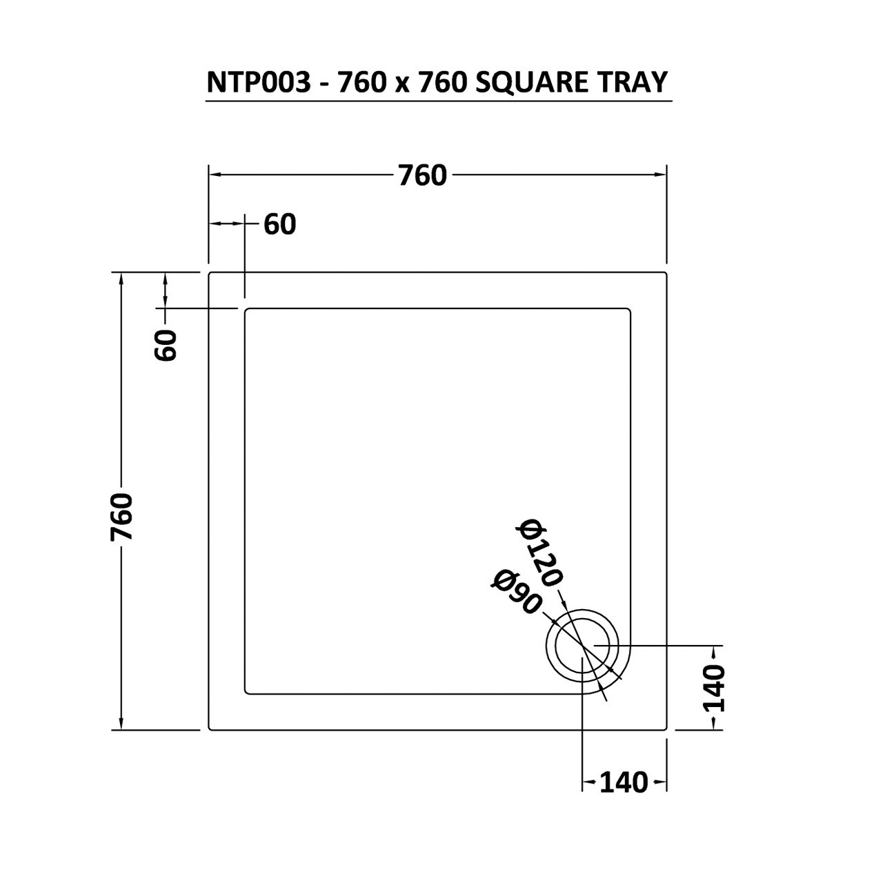 Nuie Pearlstone 760mm x 760mm Square Shower Tray with Corner Waste - NTP003