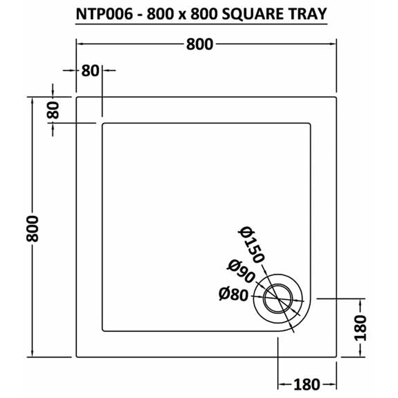 Nuie Pearlstone 800mm x 800mm Square Shower Tray with Corner Waste - NTP006